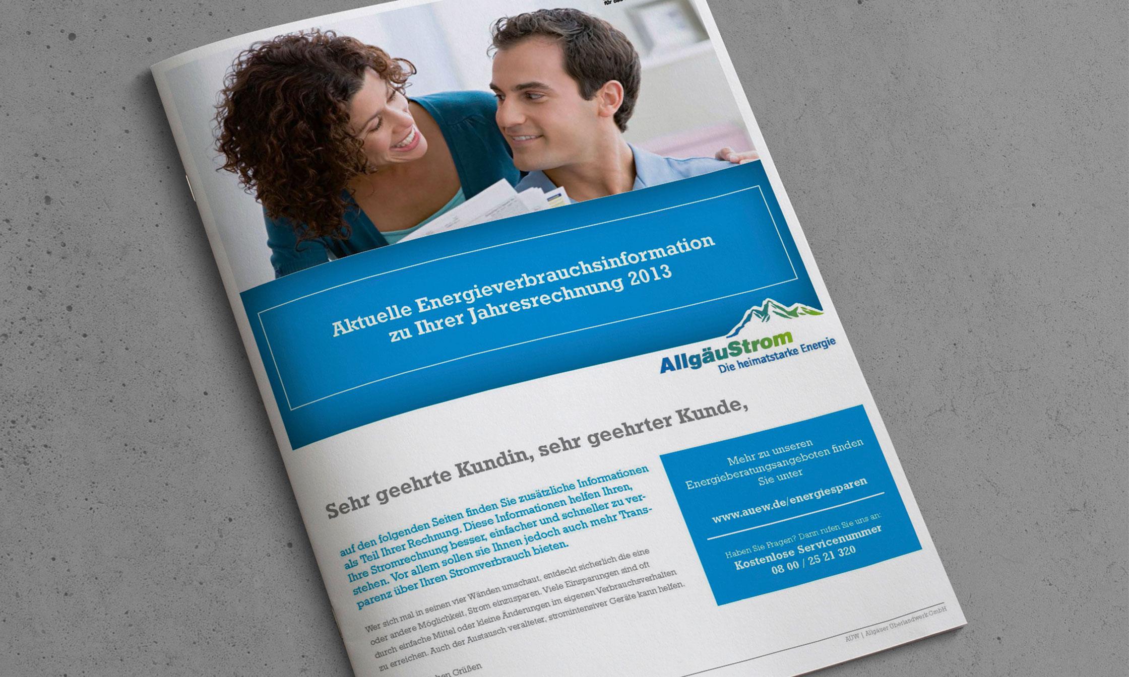 Kundenfreundlicher Rechnungsbeileger von AllgäuStrom © drehphase brand & design communication, Florian Dreher